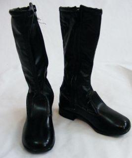 Vintage Deadstock 60s 70s Black GoGo Boots Knee High Girls 9 5