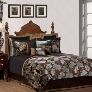 PC Queen CALKING Brown Gold and Blue Floral Comforter Set