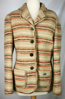 Giesswein wool fleece Coat Jacket Blazer 40 M beige red brown stripe