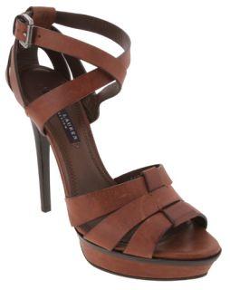 Ralph Lauren Browns Vachetta Leather Jenica High Heel Sandals Womens
