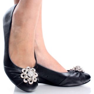 Black Designer Rhinestone Flower Comfort Work Womens Wedge Shoes Size