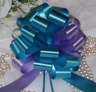 20 TURQUOISE LAVENDER LILAC GIFT PULL BOW BASKET WREATH