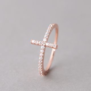 Sideways Cross Ring Rose Gold Sideway Cross Ring Intergrated