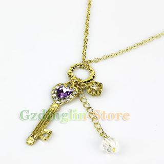 Womens Fashion Pendant Key Crown Heart Purple Crystal Gold Necklace