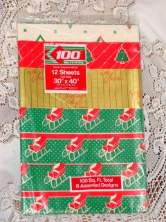 Vintage 1970s Christmas Gift Wrapping Paper 12 Sheets Assortd Designs