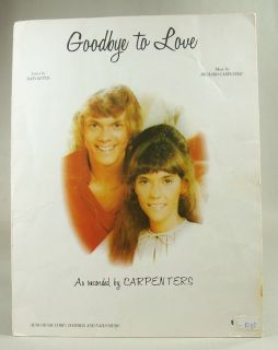 Goodby to Love Sheet Music as Recorded by The Carpenters Vintage 1972