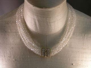 Vintage Ciner Multi Strand Crystal Bead Necklace with Big Rhinestone