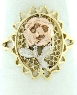 Ladies 14k Yellow White Rose Gold Filigree Rose Ring