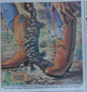 1980 Print Ad Nocona Cowboy Boots Gila Monster Western Art