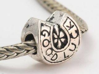Antique Silver European Horseshoe Good Luck Charm Bead