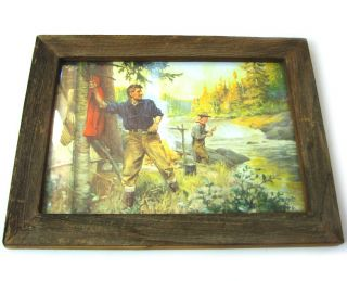 Rustic Framed Print Philip R Goodwin Fly Fishing A Friend in Need