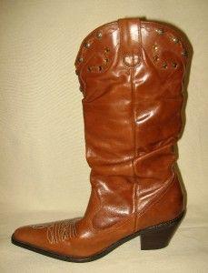Gillian Julius Brown Leather Cowboy Boots Sz 10 RARE