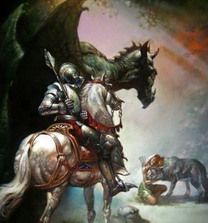 Boris Vallejo Dragon and The George Classic Original Oil Painting