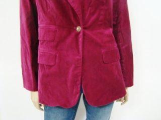 New Diane Gilman DG2 Purple Velvet Classic Style Button Blazer s M