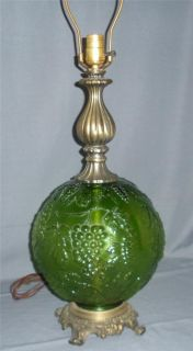 Retro Emerald Green Glass Ball Electric Table Lamp Grapes Vintage