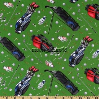 Elizabeths Studio Sport Golf Equipment Tee Balls Bags on Green Fabric