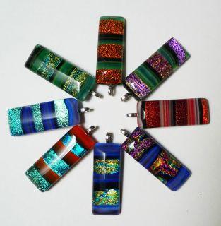 Multi Color Dichroic Glass Rectangular Pendant Unique Handmaded