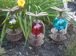 Red Blue Green Glass Gazing Balls Dragonfly Garden Stake Rustic Iron