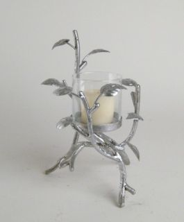 Silver Glass Hurricane Voive Candle Holder DS170