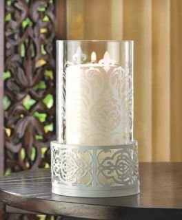 White Lace Glass Hurricane Pillar Garden Candle Holder