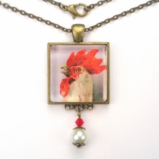 Chicken Art Glass Pendant Necklace Vintage Charm Jewelry