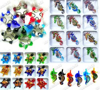 New Jewelry Lots 24PS Mixed Murano Glass Pendants Free