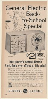 1960 GE General Electric Clock Radio Model C403 Back to School Special