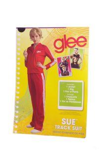 Glee Womens Sue Sylvester Halloween Costume Track Coat Jacket Wig