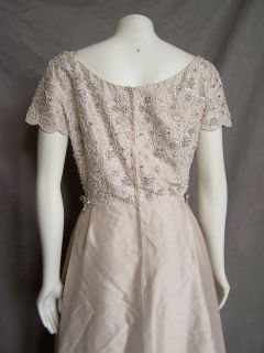 Taupe Beaded Silk Full Length Evening Gown Dress M Hong Kong