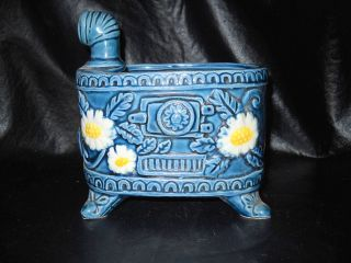 Vintage Ceramic Wood Stove Made by Norleans Japan Cute with Flowers