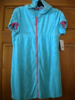 Joe Boxer Girls Size XL 14/16 Aqua Terry Cloth Swimsuit Coverup NWT $