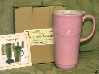 Longaberger Travel Mug Hot Cold Horizon of Hope Pink