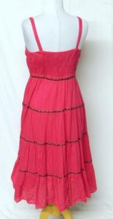 Grace Elements Sz M Fushia Hot Pink Ruffle Tiered Tube Top Dress Studs