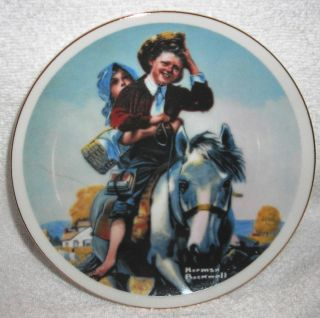 Rockwell Vtg IMM Boy Girl Riding Their Horse Home From School Plate