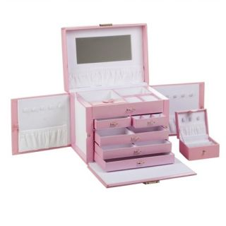 Large Pink Leather Jewelry Box Boxes Train Case Cases