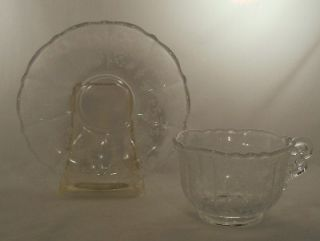 Cambridge Crystal Rose Point 3121 Pattern Cup Saucer Set 3900 17