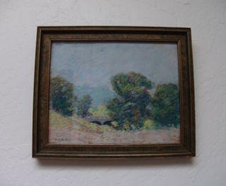 Vintage Original George H Baker Pastel Landscape Painting Wayne County