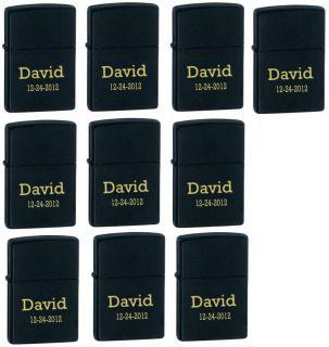 10 Pcs Personalized Genuine Zippo Matt Black Lighter Groomsmen Gifts