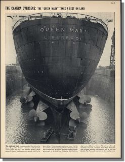 1938 The Queen Mary in Southampton Dry Dock Mag Photo