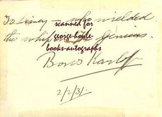 Boris Karloff Autograph 1931 Frankenstein