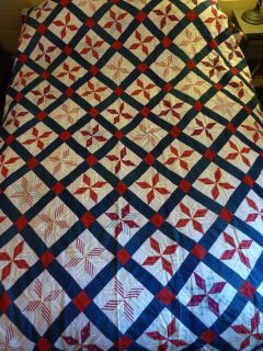 Vintage Quilt Top Star Pattern Sheer Cotton 84 x 74