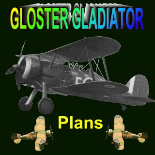 FLIGHT SCALE MODEL AIRPLANE PLANS GLOSTER GLADIATOR RUBBER POWERED