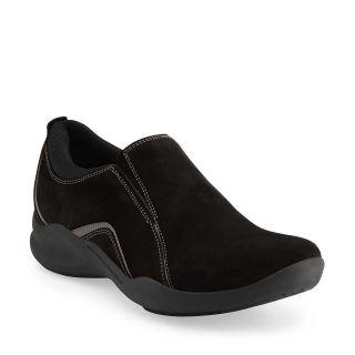 Clarks Wave Crest Womens Black Suede Waterproof Comfort Slip on