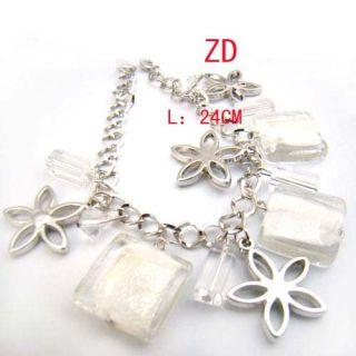 A0232 White Lampwork Glass Crystal Bead Flower Bracelet