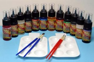 Glass Stain Paint Kit 1 oz Jars Transparent Color 12 Stains 4 Brushes