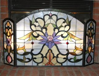 Tiffany Style Stained Glass Fire Place Screen Floral