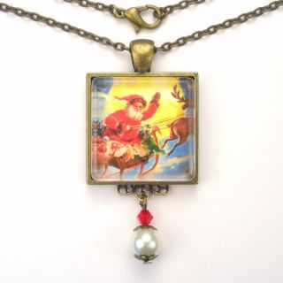 Claus Sleigh Art Glass Pendant Necklace Vintage Charm Jewelry