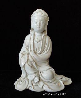 White Porcelain Sitting Cross Leg Kwan Yin Statue VS415