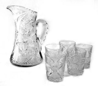 Cut Glass Lead Crystal Pitcher w/ 5 Water Glasses Tumblers 10.5