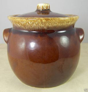 Hull USA Brown Drip Glaze Pottery Large Bowl w Lid